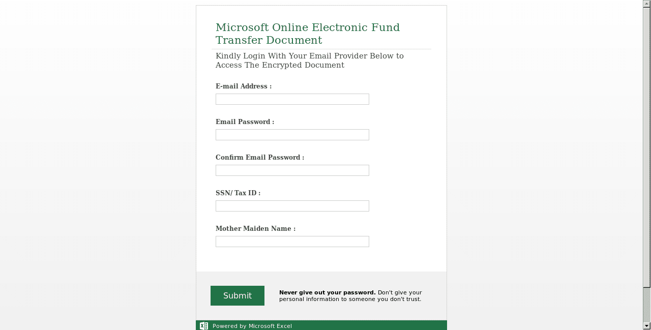 Malicious Excel SharePoint Form