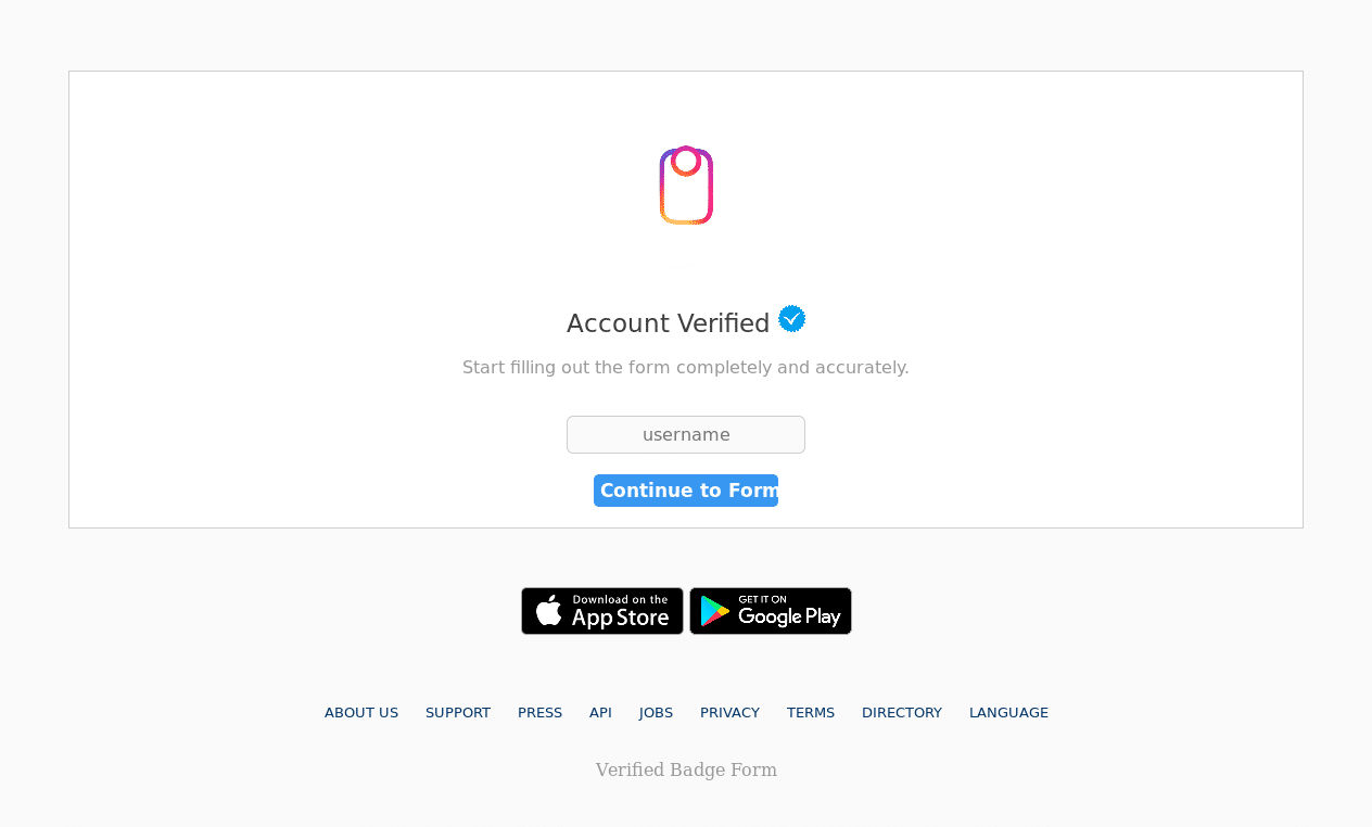 Malicious Credential Stealing Instagram Account Verification